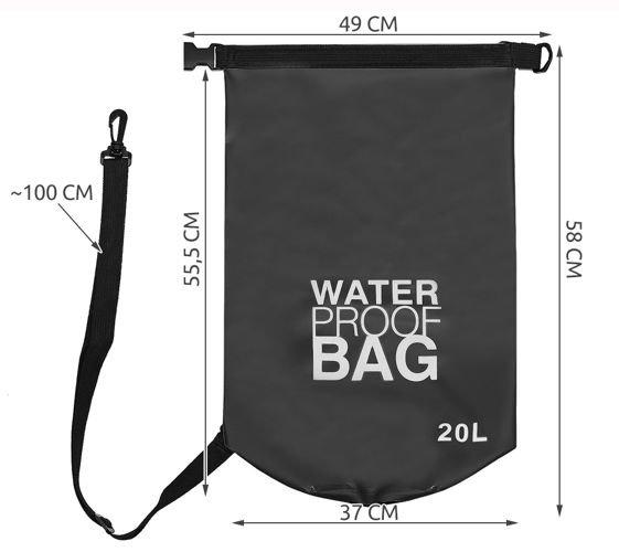 Geanta impermeabila de mare Dry-Bag 20 litri 55 x 37cm neagra [7]