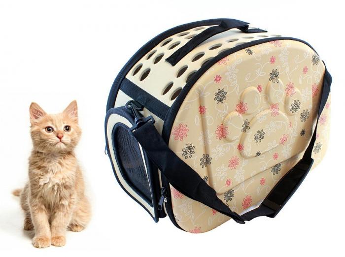Geanta de transport animale pliabila pentru caini sau pisici de talie mica  culoare bej 0