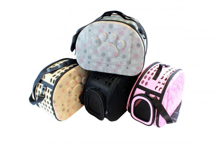 Geanta de transport animale pliabila pentru caini sau pisici de talie mica  culoare bej 6