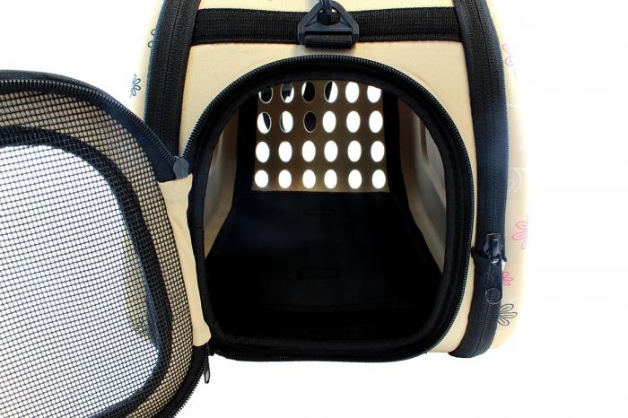 Geanta de transport animale pliabila pentru caini sau pisici de talie mica  culoare bej 5