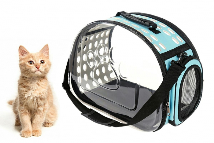 Geanta de transport animale pliabila pentru caini sau pisici de talie mica culoare transparenta turcoaz [0]