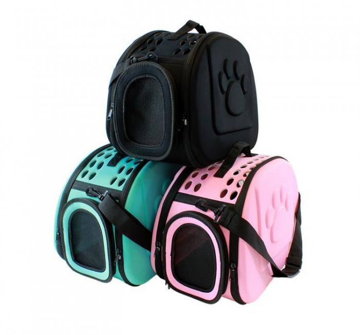 Geanta de transport animale pliabila pentru caini sau pisici de talie mica neagra [4]