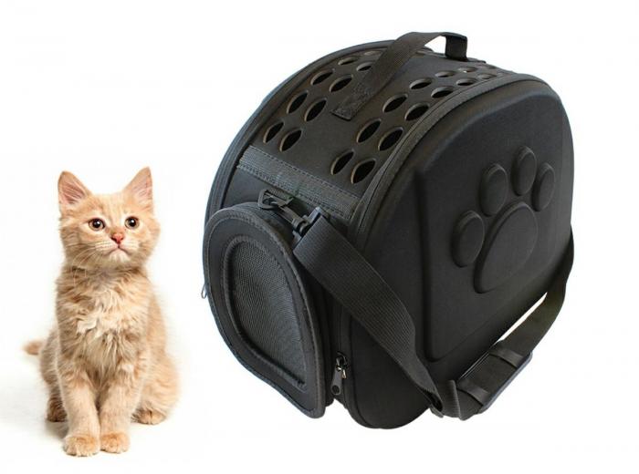 Geanta de transport animale pliabila pentru caini sau pisici de talie mica neagra [0]