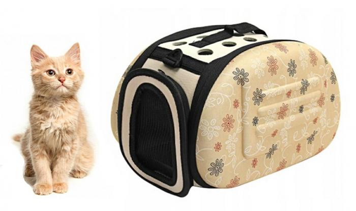Geanta pentru Transport Animale de Companie talie mica ,cu inchidere dubla, 35x20x22 cm Bej [2]
