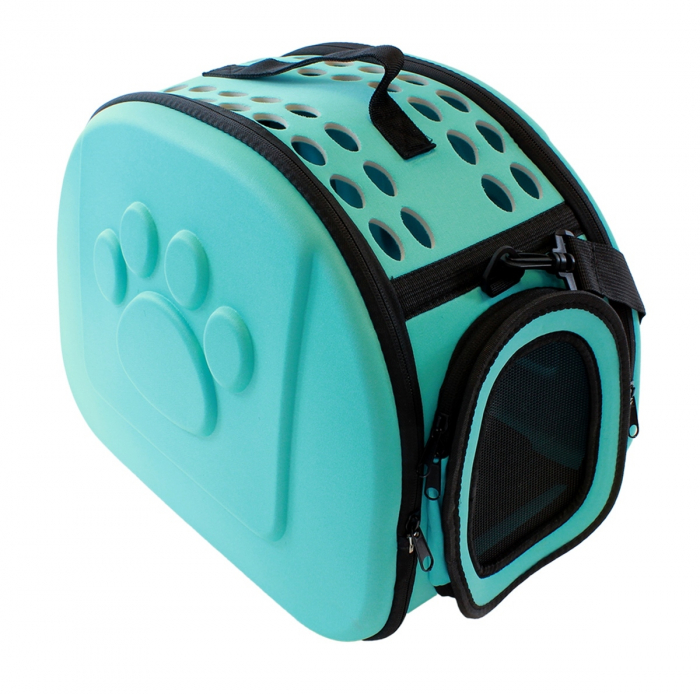 Geanta pentru Transport Animale de Companie, pliabila, cu inchidere dubla, 43x30x32cm, albastru [0]