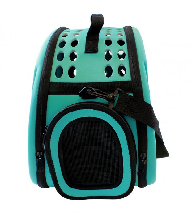 Geanta pentru Transport Animale de Companie, pliabila, cu inchidere dubla, 43x30x32cm, albastru [3]