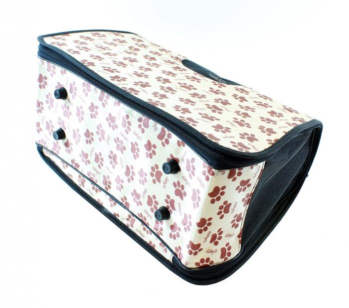 Geanta transport caini sau pisici 45x20x27 cm, pliabila, bej imprimeu labute [3]