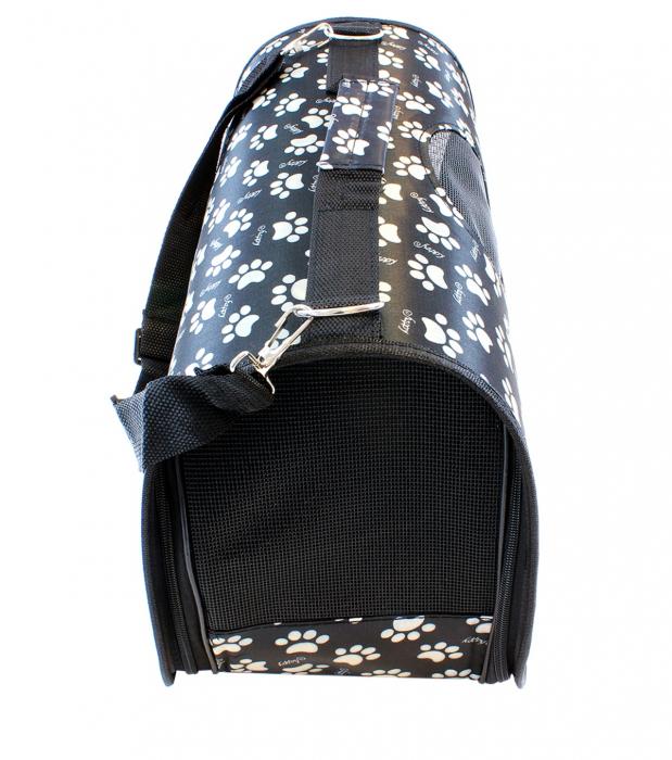 Geanta transport caini sau pisici 45x20x27 cm, pliabila, negru cu imprimeu labute bej [2]