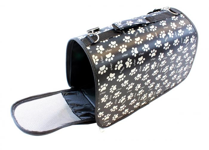 Geanta transport caini sau pisici 45x20x27 cm, pliabila, negru cu imprimeu labute bej [1]