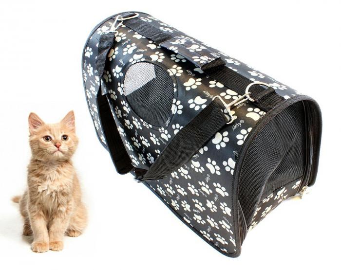 Geanta transport caini sau pisici 45x20x27 cm, pliabila, negru cu imprimeu labute bej [0]