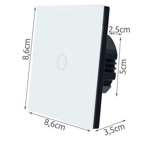 Intrerupator Single touch,  Sticla, 8.6 x 8.6 x 3.3 cm, Alb [6]