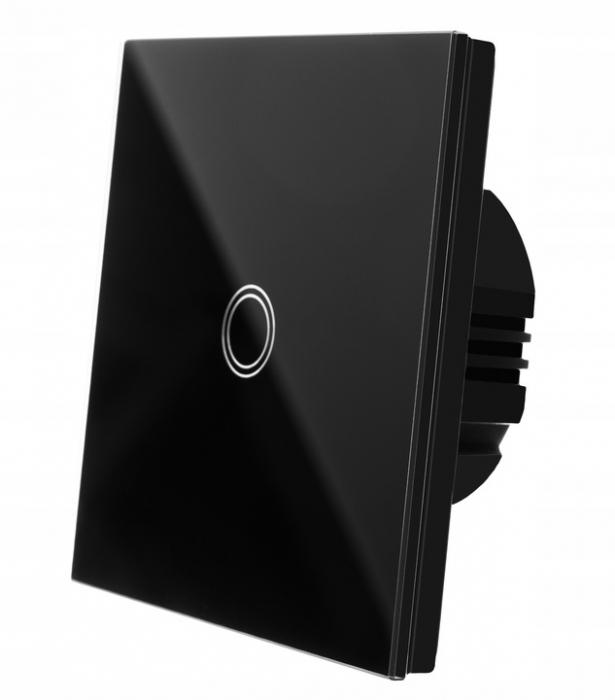 Intrerupator Single touch, Sticla, 8.6 x 8.6 x 3.3 cm, Negru [0]