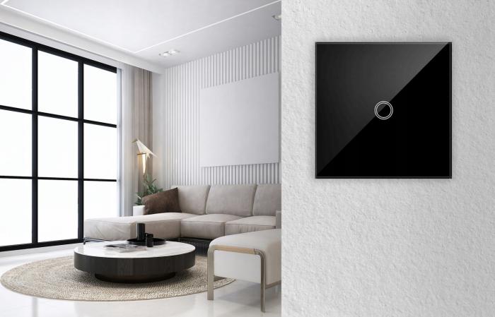 Intrerupator Single touch, Sticla, 8.6 x 8.6 x 3.3 cm, Negru [7]