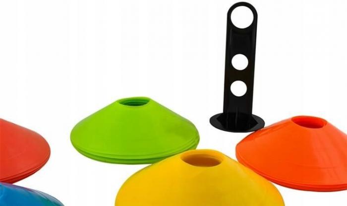 Jaloane tip con pentru antrenament din cauciuc cu suport set 50 bucati colorate [3]