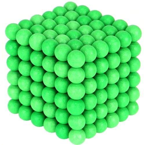 Joc Puzzle Antistres  cu Bile Magnetice 216 Bucati, Diametru Bile 5mm verde fluorescent [0]
