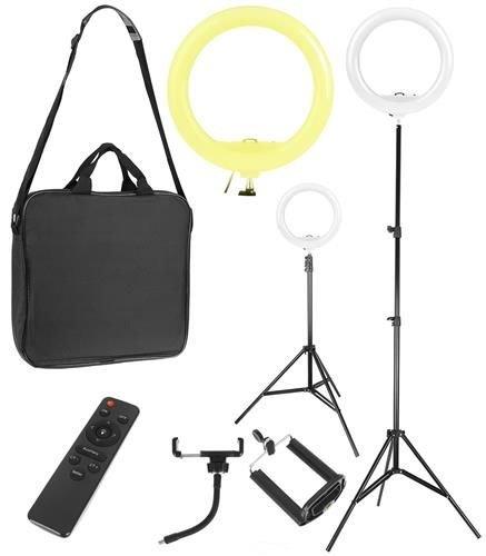 Lampa foto circulara LED cu telecomanda, lumina calda/rece/neutra  + Trepied cu Inaltime Reglabila Suport pentru Telefon si Aparat Foto [0]