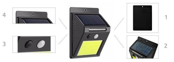 Lampa solara de perete cu 48 de leduri cu senzor de lumina si miscare [3]