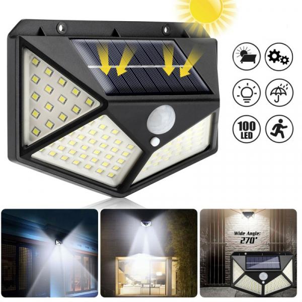 Lampa solara 100 LED-uri, 7W, sensor miscare 8-10m, fixare perete, exterior, lumina alb rece, unghi lumina 270 grade 0