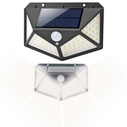 Lampa solara 100 LED-uri, 7W, sensor miscare 8-10m, fixare perete, exterior, lumina alb rece, unghi lumina 270 grade 3