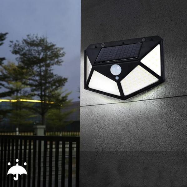Lampa solara 100 LED-uri, 7W, sensor miscare 8-10m, fixare perete, exterior, lumina alb rece, unghi lumina 270 grade 5