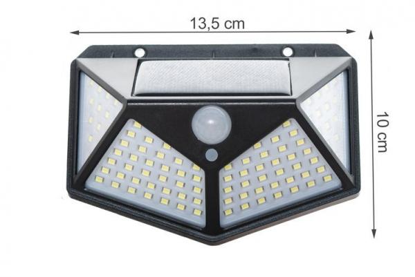 Lampa solara 100 LED-uri, 7W, sensor miscare 8-10m, fixare perete, exterior, lumina alb rece, unghi lumina 270 grade 1