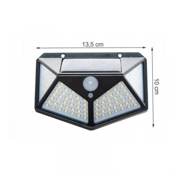 Lampa solara 100 LED-uri, 7W, sensor miscare 8-10m, fixare perete, exterior, lumina alb rece, unghi lumina 270 grade 4