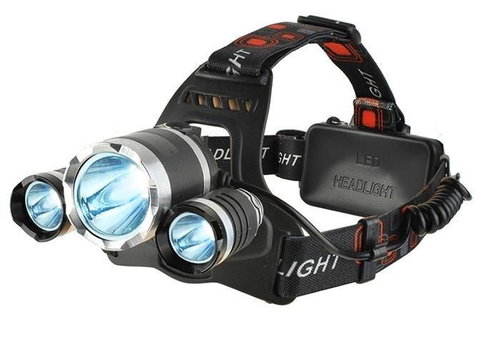 Lanterna de cap frontala CREE 3 leduri reincarcabila 220V +12V + reglabila 4 moduri 7