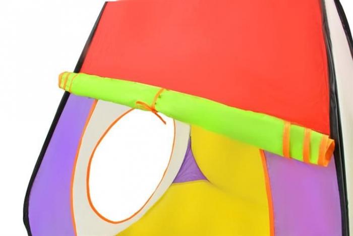 Loc de joaca 280cm lungime  multifunctional, pentru interior si exterior, cort, tunel intermediar si iglu, 200 Bile multicolore  si geanta depozitare [7]