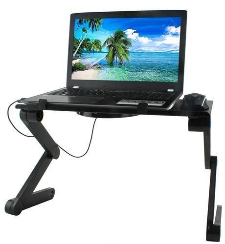 Masuta rabatabila pentru laptop inălțime reglabilă USB cooler răcire 27X48 cm  cu  Mouse  Pad negru [6]