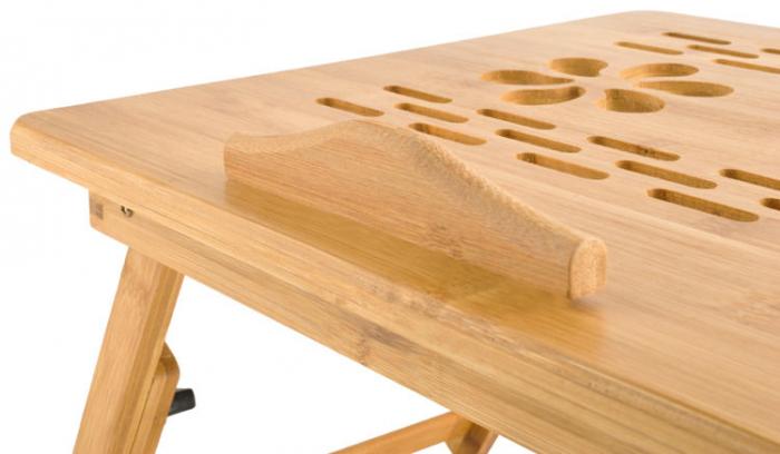 Masuta laptop lemn pliabila 17 inch cu 4 trepte inclinare,rabatabila cu sertar suport cana marime XXL [2]