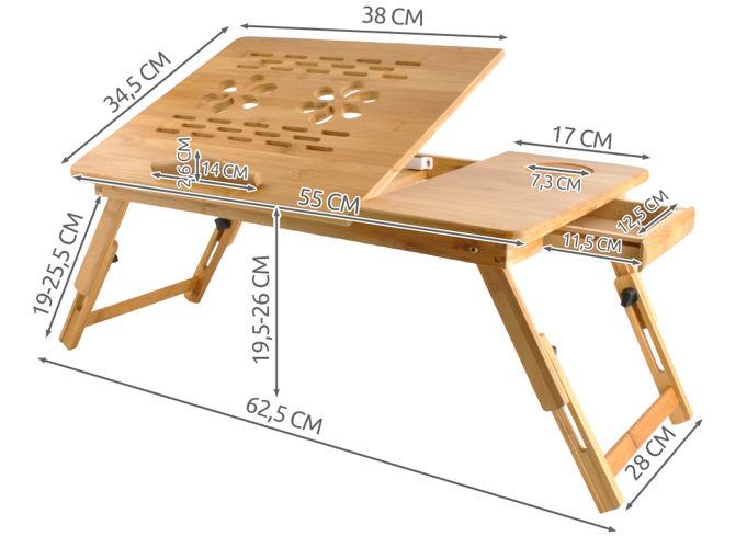 Masuta laptop lemn pliabila 17 inch cu 4 trepte inclinare,rabatabila cu sertar suport cana marime XXL [7]