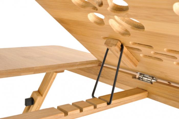 Masuta laptop lemn pliabila 17 inch cu 4 trepte inclinare,rabatabila cu sertar suport cana marime XXL [1]