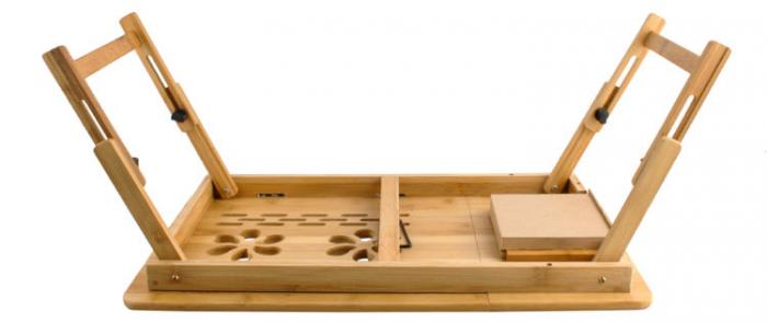 Masuta laptop lemn pliabila 17 inch cu 4 trepte inclinare,rabatabila cu sertar suport cana marime XXL [3]