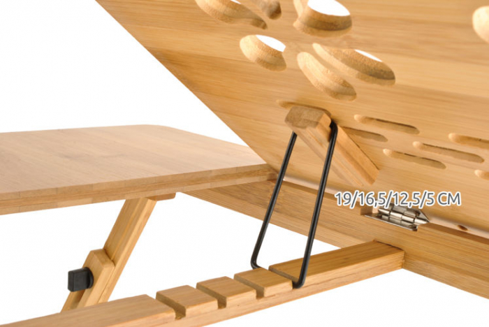 Masuta laptop lemn pliabila 17 inch cu 4 trepte inclinare,rabatabila cu sertar suport cana marime XXL [6]