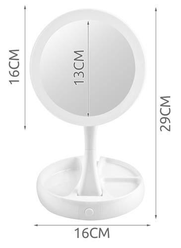 Oglindă cosmetică dublă iluminată LED cu organizator de accesorii 7