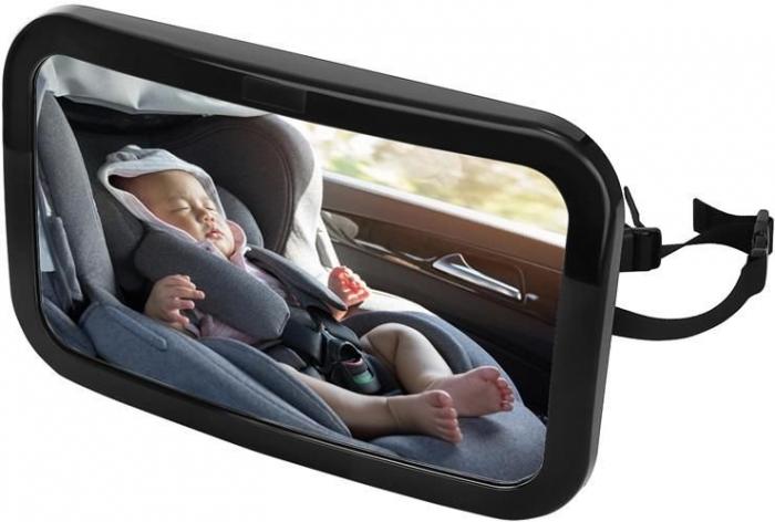 Oglinda auto vizibilitate bebe, retrovizoare montare tetiera, suprafata anti-alunecare, 30x18.7x2.5 cm 4
