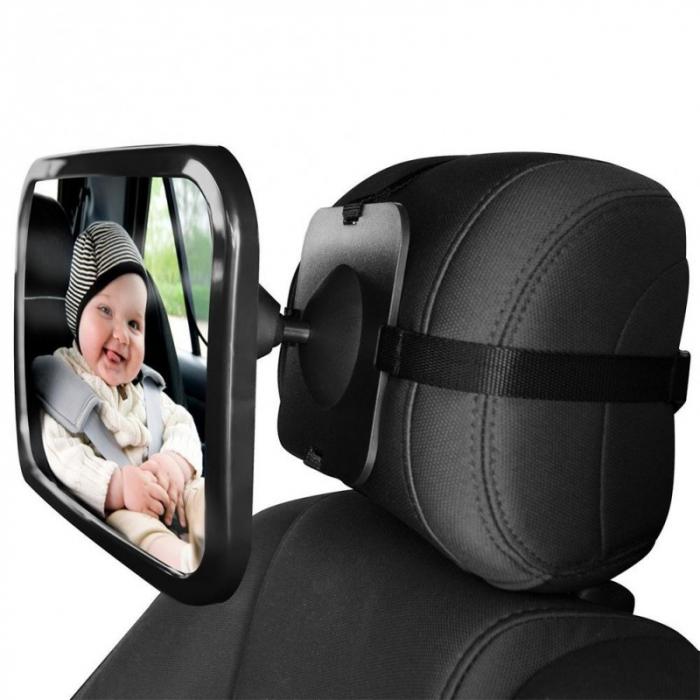 Oglinda auto vizibilitate bebe, retrovizoare montare tetiera, suprafata anti-alunecare, 30x18.7x2.5 cm 0