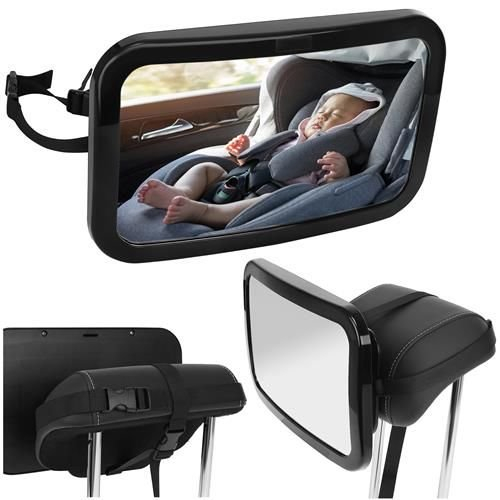 Oglinda auto vizibilitate bebe, retrovizoare montare tetiera, suprafata anti-alunecare, 30x18.7x2.5 cm 3