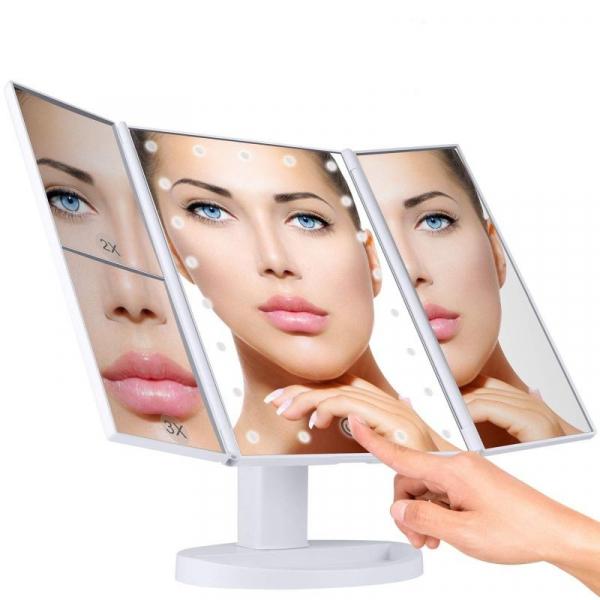 Oglinda cosmetica rotativa led  iluminare zoom 2 si 3 x alimentare usb si baterii alba [0]