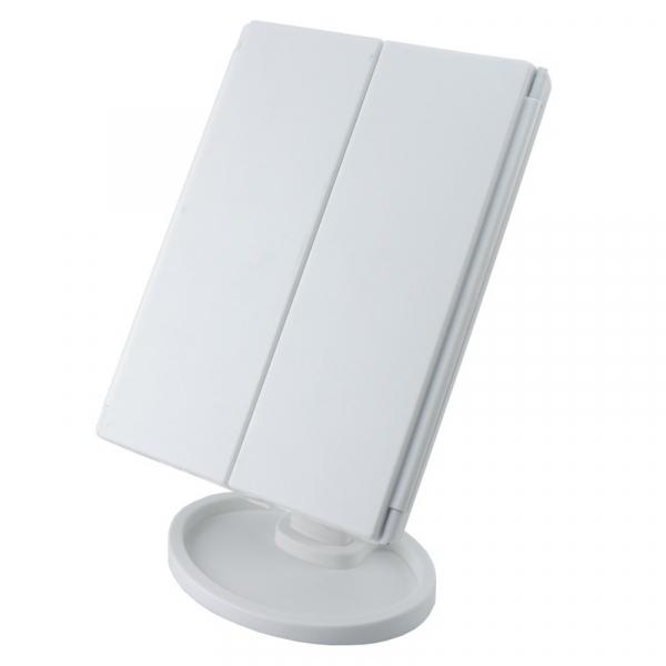 Oglinda cosmetica rotativa led  iluminare zoom 2 si 3 x alimentare usb si baterii alba [6]