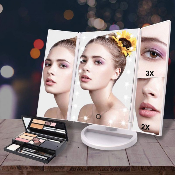 Oglinda cosmetica rotativa led  iluminare zoom 2 si 3 x alimentare usb si baterii alba [2]
