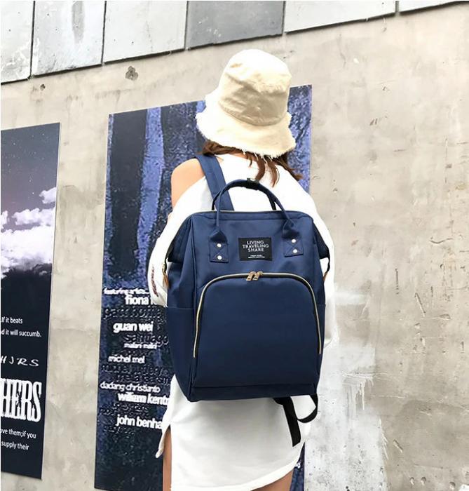 Rucsac geanta multifunctionala pentru mamici, Living Traveling atasabil la carucior, organizator articole,Albastru Inchis [3]