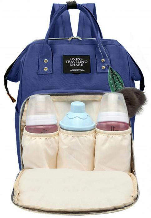 Rucsac geanta multifunctionala pentru mamici, Living Traveling atasabil la carucior, organizator articole,Albastru Inchis [1]