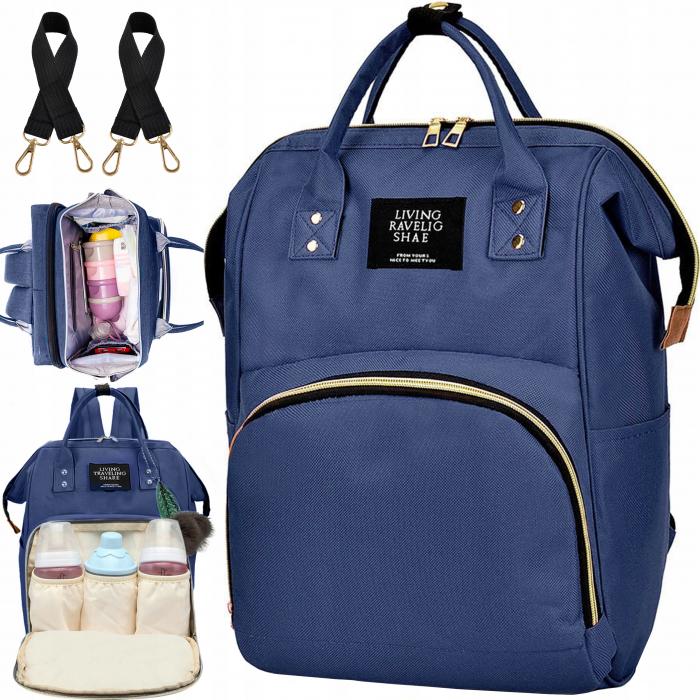 Rucsac geanta multifunctionala pentru mamici, Living Traveling atasabil la carucior, organizator articole,Albastru Inchis [0]