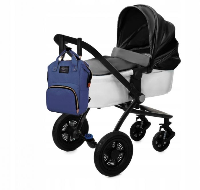 Rucsac geanta multifunctionala pentru mamici, Living Traveling atasabil la carucior, organizator articole,Albastru Inchis [6]