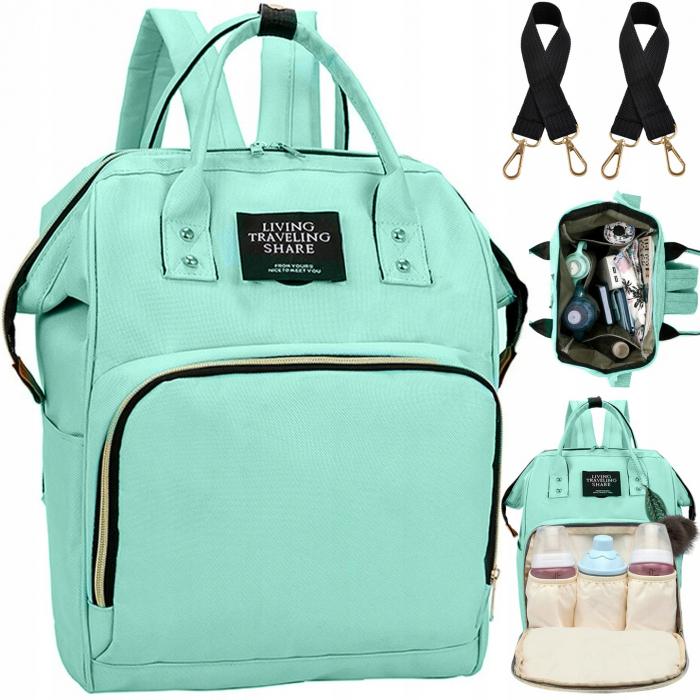 Rucsac geanta multifunctionala pentru mamici Living Traveling atasabil la carucior organizator articole bleu [9]