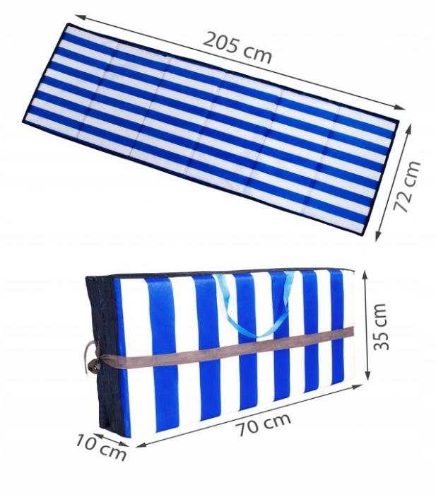 Saltea pliabila pentru plaja sau picnic Impermeabila, poliester, Albastru [3]