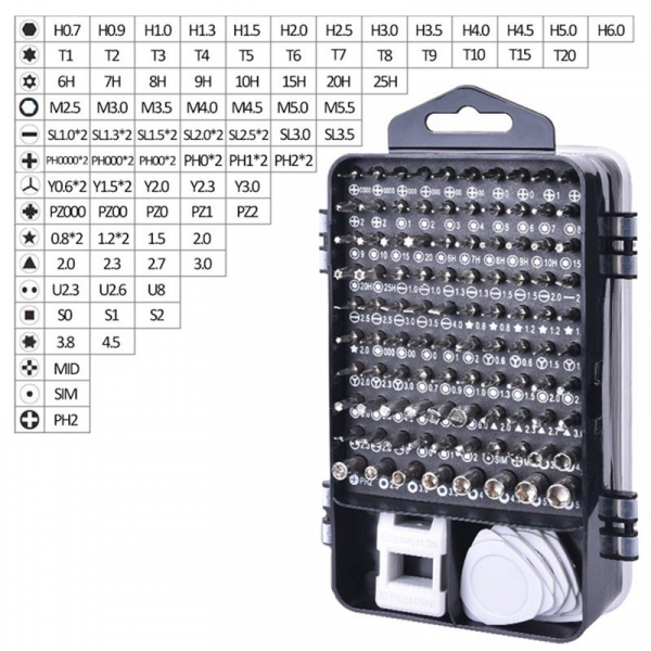 Trusa set 110 piese mecanica fina biti tubulare torx pentru reparat telefoane calculatoare otel crom vanadiu set [3]