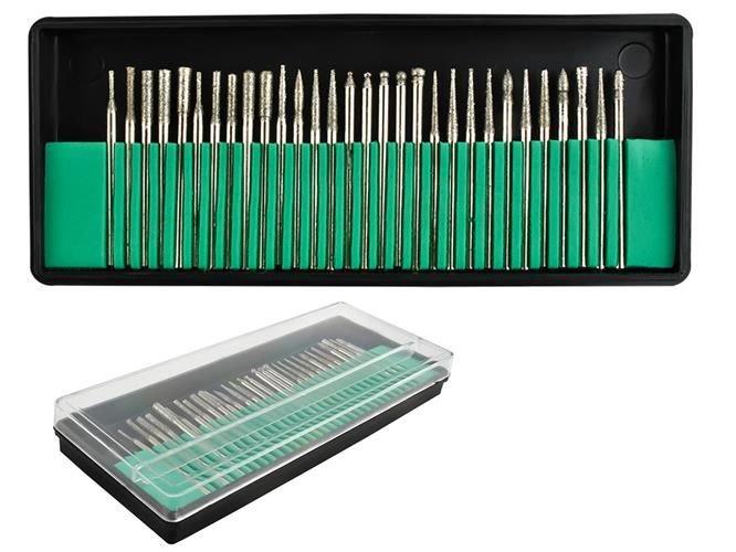 Set 30 Capete diamantate gravare frezare pentru pila electrica de unghii sau universal 0