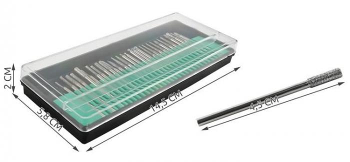 Set 30 Capete diamantate gravare frezare pentru pila electrica de unghii sau universal 3